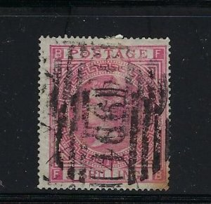 GREAT BRITAIN SCOTT #57 1867 5 SHILLING ROSE PLATE 1 (HEAVY CANCEL)   - USED