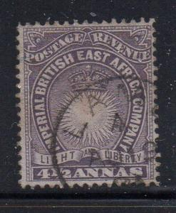 British East Africa Sc 20 1891 4 1/2 annas  Sun & Crown stamp used
