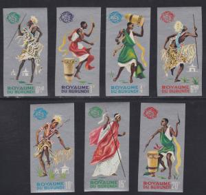 Burundi # 88a-94b, Dancers, Imperf- Silver Frames, NH, 1/2 Cat.