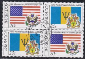 Barbados # 581-584, President Reagan's visit, Used Blocks of Four