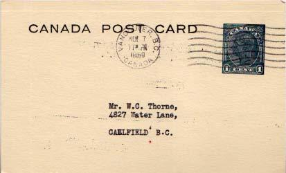 Canada, Canada British Columbia, Government Postal Card