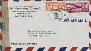 Dominican Republic 3c Re-election of Trujillo and 10c Plane 1944 Santiago, Re...
