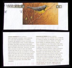 CANADA 1996 BIRDS TOPICAL CUT SQUARE #U160 CANADA WARBLER + CANADA POST LABEL