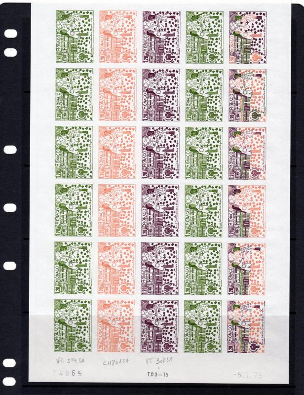 Monaco 1979 Sc#1173/1177 International Year Child 5 Sheetlets Trial Color  (150)