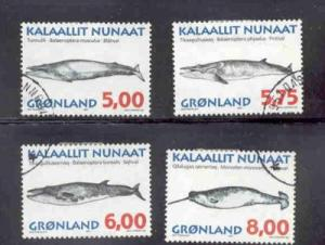 Greenland Sc 319-22 1997 Whales stamp set used