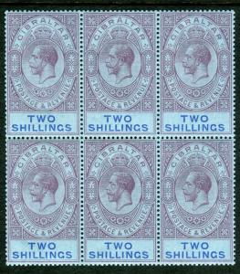 GIBRALTAR-1921-7 2/- Grey-Purple & Blue/Blue.  An unmounted mint block of 6 Sg 9