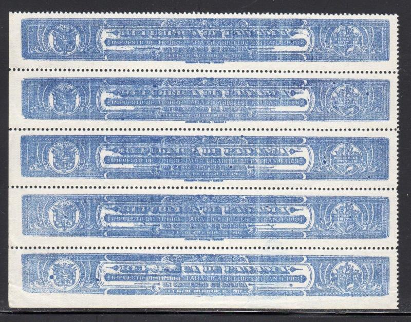 Panama Revenue Strip of 4 Unused No Gum b10