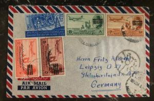1954 Cairo Egypt Censored Airmail Cover To Germany Revolution Republic Inte MXE