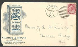 DATED 1903 COVER AMHERST NOVA SCOTIA FILLMORE & MORRIS SHOE BLACKING, SEE INFO