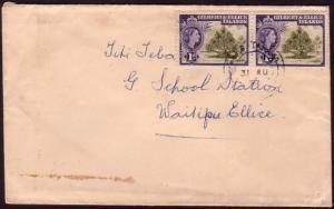 GILBERT & ELLICE IS 1957 LOCAL cover BETIO - TARAWA to Waitapu - 2d rate...37292