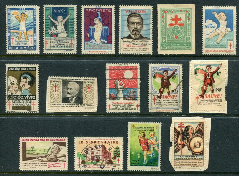 x311 - FRANCE Lot of (15) Anti-TUBERCULOSIS Stamps Vignette Cinderella Labels