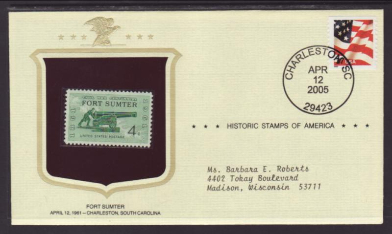 US Fort Sumter Historic Stamp Cover BIN