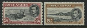 Ascension KGVI 1938 2/6d and 5/ mint o.g. both perf 13