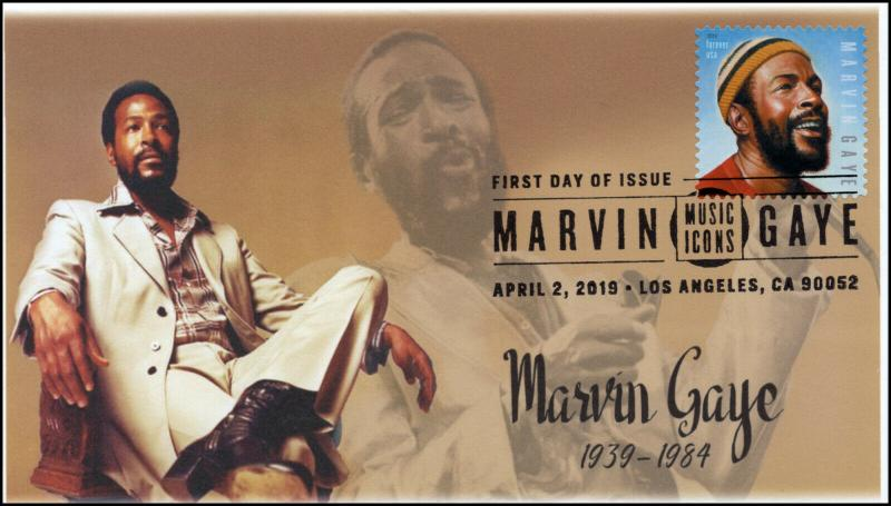 19-063, 2019, Marvin Gaye, Pictorial  Postmark, FDC, Music Icons
