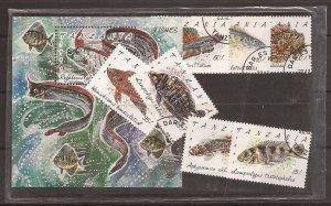 1992 Tanzania - Sc 816-23 -used VF - singles & Souvenir Sheet - Fish of Tanzania