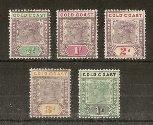Gold Coast 1898 QV Values to 1/- Mint Cat£94 (5v)