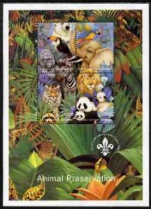 Batum 1996 M/S Animals Preservation Bird Elephant Leo Panda Bear Nature Stamps