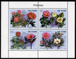 St Thomas & Prince Islands 2011 Peony Flowers perf sh...