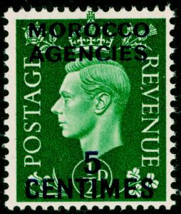 MOROCCO AGENCIES SG230, 5c on ½d green, NH MINT