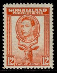 SOMALILAND PROTECTORATE GVI SG100, 12 red-orange, LH MINT. Cat £20.