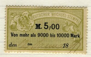 GERMANY; 1880s-90s classic early Bill Stamp fine used 5M. value