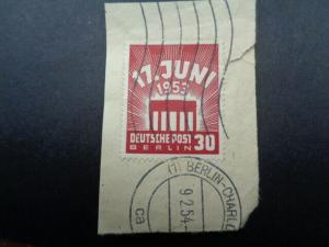 Staqmps Germany - Berlin 1953 Eastern Workers Strike 30 pfg Red on Piece.