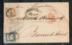 Sardinia #14 (Sassonne #15db & #17c) Used On Folded Letter To Argentina *Cert.*
