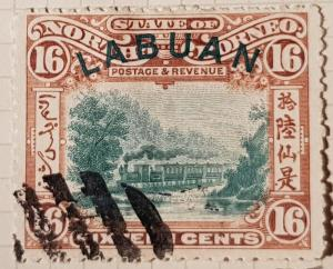 LABUAN (North Borneo) 1900,  16 cent, brown/black.