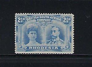 RHODESIA SCOTT #104 1910 DOUBLE HEAD 2 1/2D (ULTRA)  PERF 14- MINT NEVER HINGED