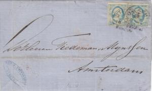 1861, Folded Letter Cover to Amsterdam with Pair Sc #1S (12425)