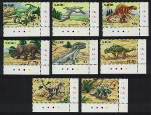 Nauru Dinosaurs and Prehistoric Animals 8v Corners SG#629-636