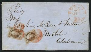 #1 (2x) VF COPIES ON COVER FROM BOSTON TO ALABAMA SCARCE WLM5488