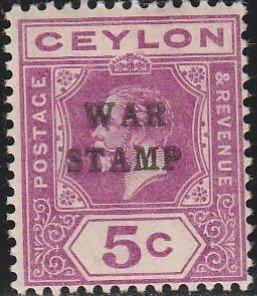 Ceylon, #MR3  Mint Hinged From 1918