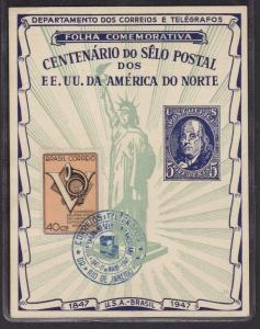 18873 BRAZIL 1947 SOUV. LEAF TO COMMEMORATE 100 YEARS OF USA STAMPS - RHM# F-A-6