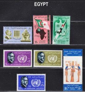 Egypt Scott 565-67, 574-77 F to VF mint OG H or LH.