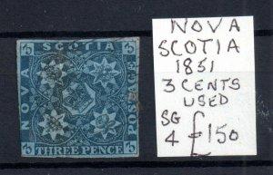 Canada Nova Scotia 1851 3d blue fine used #1b WS15365