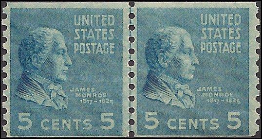 845 Mint,OG,NH... Line Pair... SCV $27.50