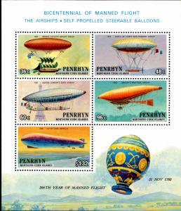 PENRHYN 259aS/S MNH SCV $9.00 BIN $4.50 HOT AIR BALLOONS