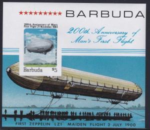 Barbuda # 581, First Graf Zeppelin Flight, NH, Half Cat