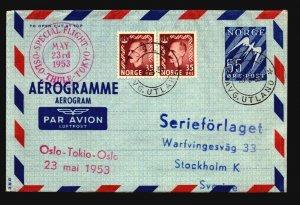 Norway 1953 First Flight Areogramme Oslo-Tokyo-Oslo - Z17781