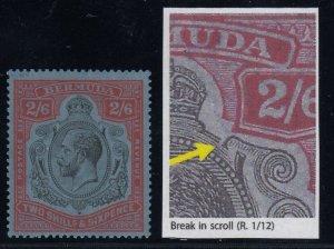 Bermuda, SG 89ga, MLH Break in Scroll variety