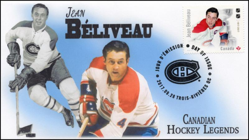 CA17-022, 2017, Hockey Legends, Jean Beliveau, Day of Issue, FDC