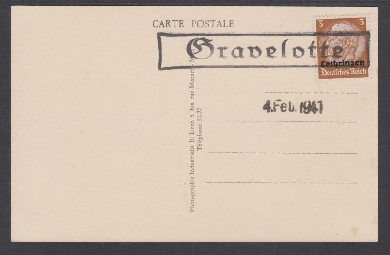 Lorraine Sc N43 used on 1941 PPC, Military Cemetary at Gravelotte (Moselle)