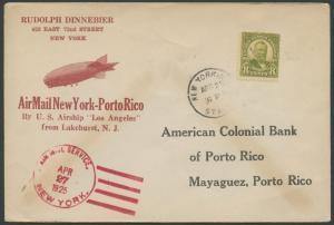 ZR3 TO LOS ANGELES 1925 NY TO PORTO RICO W/ CORRECT MARKING UNCOMMON BS1247