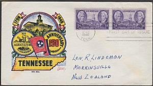 USA 1946 FDC to New Zealand - 3c Tennessee.................................57712