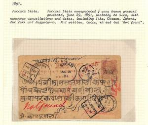 AQ162 1891 Indian States PATIALA Overprint Postal Stationery Card *Sikar* RETOUR