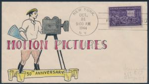 #926 MOTION PICTURES ON MAE WEIGAND HAND PAINTED MULTICOLOR CACHET RARE BS2328