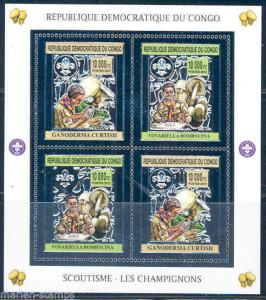 CONGO 2012 BOY SCOUTS & MUSHROOMS  SHEET OF FOUR SILVER FOIL STAMPS MINT NH
