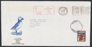 GB LUNDY 1990 cover - Puffin stamp 27 on 16.................................F906