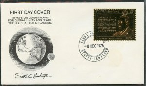 STAFFA SCOTLAND TRYGVE LIE  23kt GOLD FOIL STAMP ON FDC